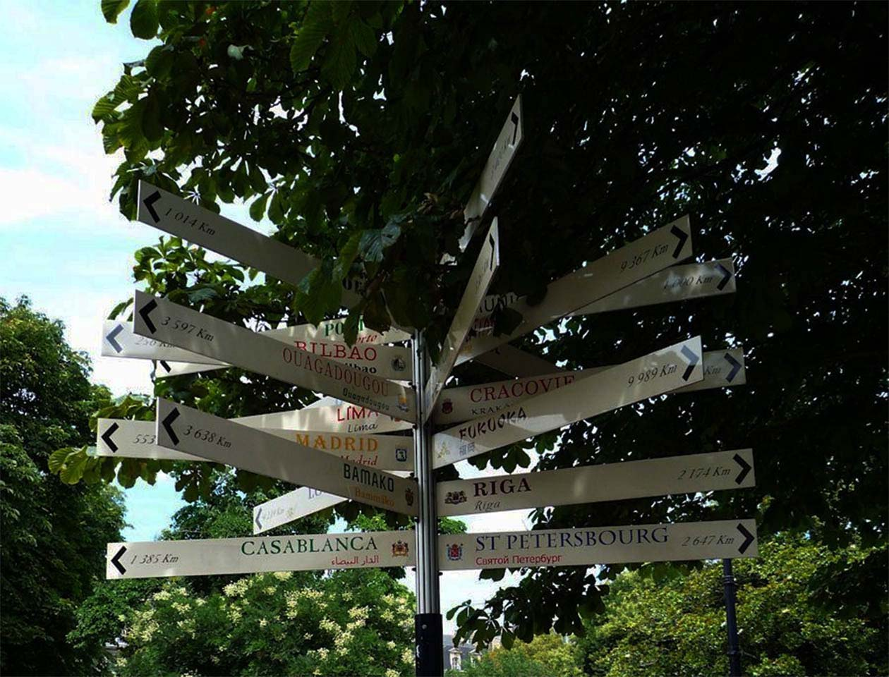Gambetta square Bordeaux : multidirectional signs - Bordeaux twin cities