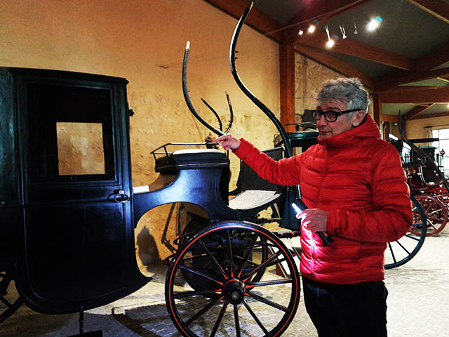 Guided tour inside the horse drawn carriages museum of Bourg sur Gironde