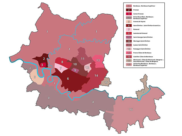 The wine appellations of the right bank of Bordeaux
